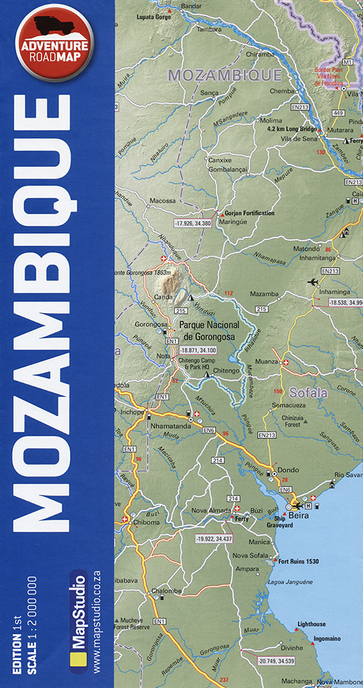 Mozambique Adventure Road Map (MapStudio)