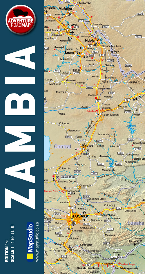 Zambia Adventure Road Map (MapStudio)