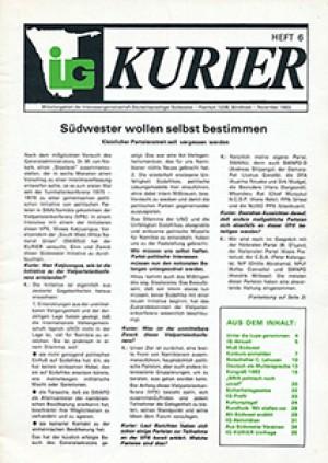 IG Kurier. Heft 6, November 1983 Mitteilungsblatt der Interessengemeinschaft Deutschsprachiger Südwester