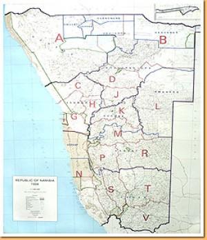 Farmkarte Namibia - Farm Map of Namibia
