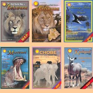 Set of five Shell maps and The Shell Tourist Travel and Field Guide of Botswana