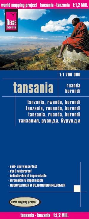 Karte von Tansania, Ruanda, Burundi - Tanzania, Rwanda, Burundi Map 1:1.200.000 (Reise Know-How)