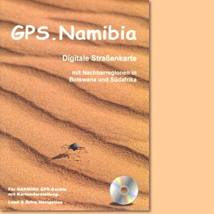 GPS-Karte Namibia. Digitale Namibia-Karte mit Teilen von Botswana und Südafrika für GARMIN®-Navis