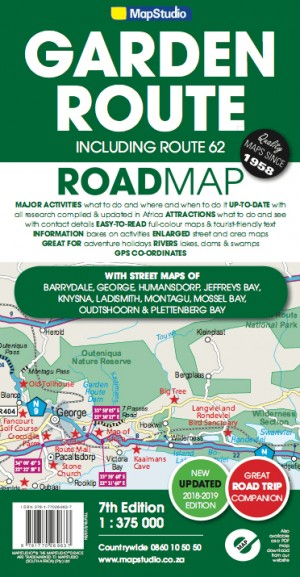 Garden Route & Route 62 Road Map (MapStudio)