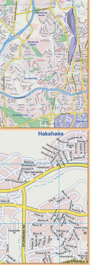 Windhoek Street Map Stadtplan MapStudio im Namibiana Buchdepot