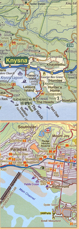 Garden route karte/ map. mossel bay to storms river (slingsby's)