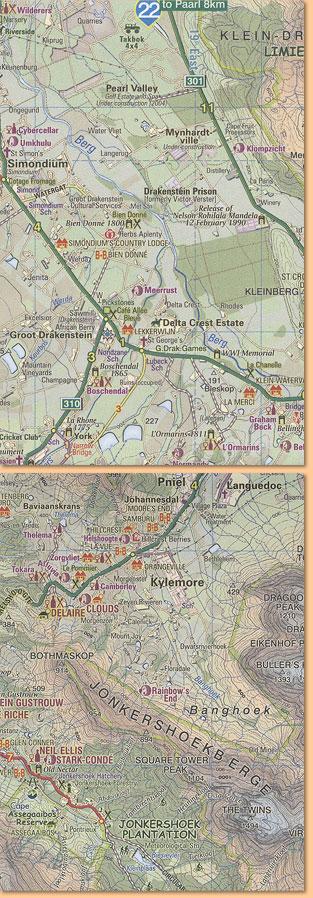 Cape Winelands Map Karte Stellenbosch Franschhoek Helderberg