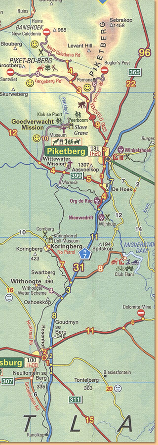 Day Drives From Cape Town Map/ Karte (Slingsby's)