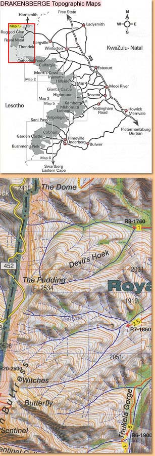 Drakensberg Hiking Map/ Wanderkarte No 1 - Royal Natal, Rugged Glen, Mweni 1:50.000