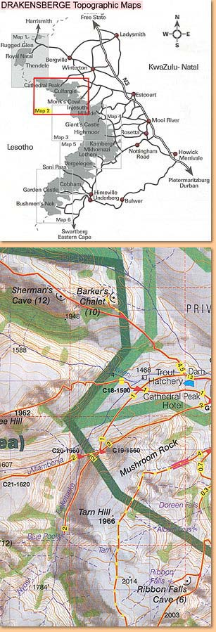 Drakensberg Hiking Map/Wanderkarte No 2 - Cathedral Peak, Culfargie, Monk's Cowl 1:50.000