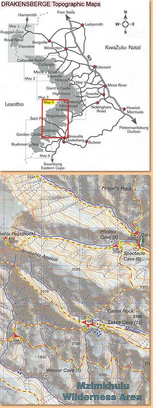Drakensberg Hiking Map/ Wanderkarte No 5 - Lotheni, Vergelegen, Cobham (1:50.000)