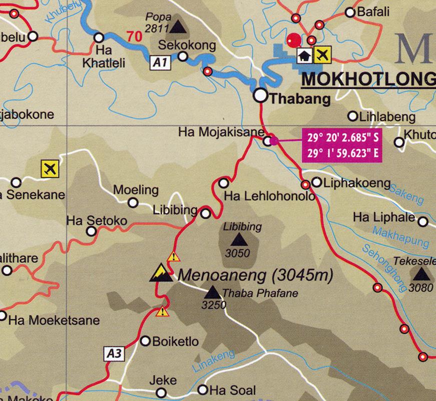 Lesotho Map Details Aus Der Lesotho Road Map