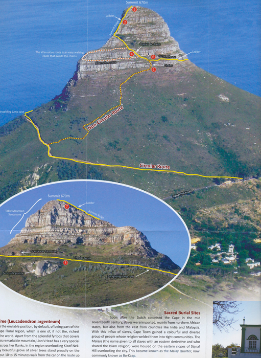 Map Guide Lions Head Cape Town South Africa Tony Lourens ...
