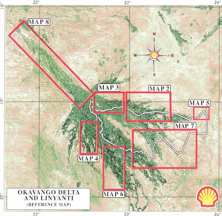 The Shell Tourist Map Okavango Delta Linyanti Veronica ... Okavango Basin Map